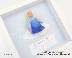 gefilzter Engel Wolke blau, Taufgeschenk, Babygeschenk - fuchswild