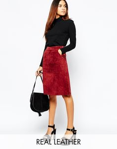 Buy Warehouse Suede Midi Skirt at ASOS. Get the latest trends with ASOS now. Latest Fashion Clothes, Daily Fashion, Fashion Beauty, Plus Fashion, Asos, Suede Skirt, Casual Skirts, Office Fashion, Models