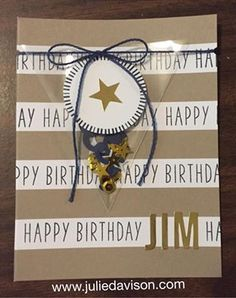 """June 2016 paper pumpkin alternative. Added some Night of Navy cardstock, Night of Navy twine, and the new Sprinkles punch. The """"Happy Birthday"""" stamps are from the May kit."""