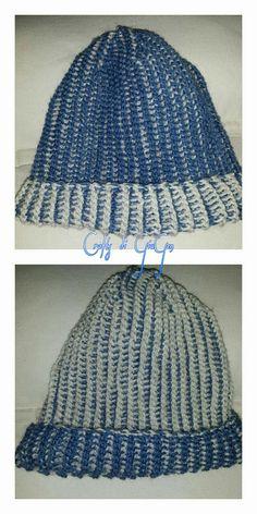 Cappello e sciarpa reversibile con uncinetto tunisino.  Hat and scarf reversible reflective Tunisian crochet