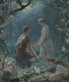 Hermia and Lysander, A Midsummer Night's Dream, by John Simmons