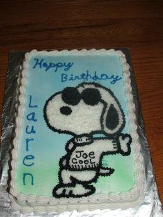 Snoopy Birthday cake...Happy 4th Birthday,  Joe Cool...perfect for Joes bday!