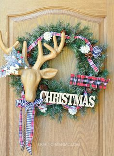 diy christmas reindeer and plaid wreath13 - See more stunning DIY Chrsitmas Wreaths at DIYChristmasDecorations.net!