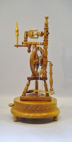 Vintage Music Box Wooden Spinning Wheel by Lifeinmommatone on Etsy, $65.00
