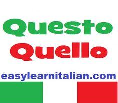 Aggettivi e pronomi dimostrativi - Italian demonstrative pronouns and adjectives http://www.easylearnitalian.com/2013/07/aggettivi-e-pronomi-dimostrativi.html #Learn #Italian