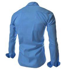 Fashionable Mens Casual Shirt Inclined Fitted Pocket Slim Thin Long-sleeve at Banggood