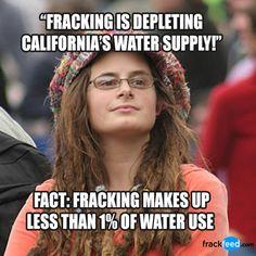 Rumor: Fracking is depleting California's water supply.       Fact: Fracking makes up less than 1% of water use. #frackfeed #fracking