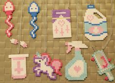 Kawaii Perler Necklaces/Magnets Sperm by merkittenjewelry on Etsy Easy Perler Bead Patterns, Melty Bead Patterns, Perler Bead Templates, Diy Perler Beads, Perler Bead Art, Beading Patterns, Pearl Beads Pattern, Hama Beads Design, Peler Beads
