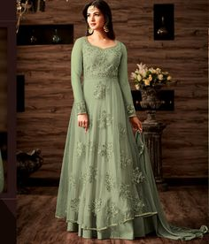 387973db87 Sonal Chauhan Green Color Georgette Embroidered Anarkali Salwar Suit