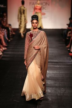 Vikram Phadnis Half Cream, Half Gold With Maroon Embroidered At Lakme Fashion Week Lakme Fashion Week, India Fashion, Asian Fashion, Saree Fashion, Indian Attire, Indian Ethnic Wear, Pakistani Outfits, Indian Outfits, Modern Saree