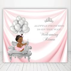 pink and silver princess,sparkle fairy dust, baby shower, 1st birthday, baptism christening, baby girl, backdrop, sign poster, banner, tiara by PRINTABLEPARTYPAPER on Etsy