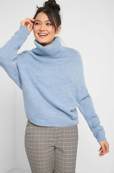 Oversize Pullover - Blau Oversize Pullover, Elegant, Knitwear, Light Blue, Turtle Neck, Sweaters, Outfits, Highlights, Quotes