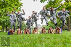 Yup they Jumped!! Groomsmen and jumping over the Bridesmaids and Bride. Wedding Photography www.storytotell.me
