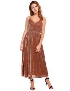Coffee Cross-straps Hollow Out Elastic Lint Maxi Cami Dress