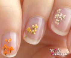 sušené kvietky, Dried Flowers, Nail art, Nail Design