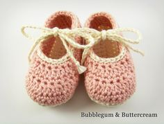 Pink Baby Booties, Crochet Knit Baby Shoes, Pink Cream Brown