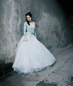 Keira Knightley tulle wedding dress with matching ice blue cardigan. Love it!!! :-)