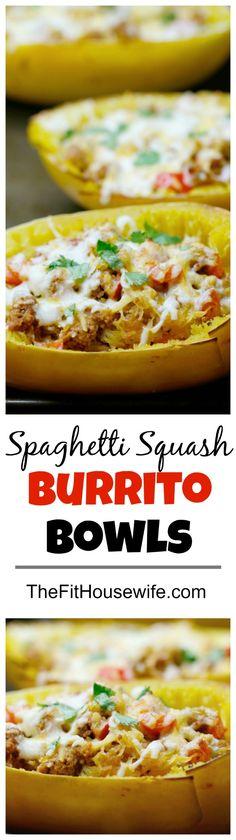 Spaghetti Squash Burrito Bowls. A low-carb, delicious recipe the whole family will enjoy!