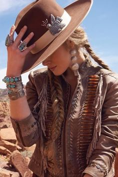 A premiere lifestyle brand inspired by the West with an apparel collection consisting of jackets, tops, dresses, skirts, boots and hats. Cowgirl Mode, Estilo Cowgirl, Cowgirl Hats, Gypsy Cowgirl Style, Gypsy Style, Hippie Style, Cowgirl Chic Fashion, Hippie Fashion, Western Chic