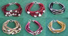 bracciali in soutache e cuoio con perle di metallo - modello 6
