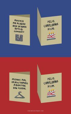 Tarjetas de Cumpleaños honestas para tus hijos.