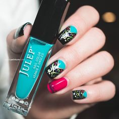 Nail art inspired by the details from the Anna's dress in Frozen.