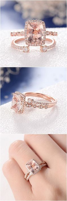 Morganite Wedding Ring Set Cushion Cut Engagement Ring Rose Gold Diamond Open Wedding Eternity Band Halo Antique 2pcs Anniversary Promise #diamondengagementringsrosegold