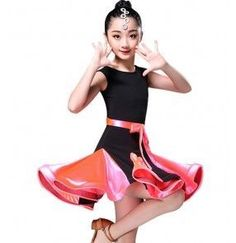 Girl's latin dresses for kids children green pink blue sleeveless competition stage performance ballroom salsa dance dresses