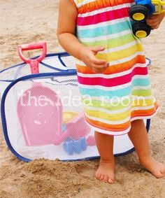 Use a mesh laundry bag to hold sand toys at the beach. | 27 Useful Dollar Store Finds Every Parent Should Know About