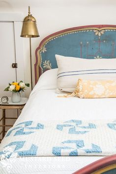 magicalhome: Hand-painted antique bed. Love the simple stool and tray that makes a vintage nightstand for a guest room.