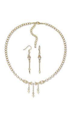 Jewelry Design - Single-Strand Necklace and Earring Set with White Lotus™ Cultured Freshwater Pearls, Gold-Plated Brass Drops and Swarovski® Crystals - Fire Mountain Gems and Beads