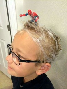 Hair Styles For School Amazing and Crazy Hair Day Dos Ideas # Amazing # Ideas Crazy Hat Day, Crazy Hair Day Boy, Crazy Hair For Kids, Crazy Hair Day At School, Crazy Hair Day For Teachers, School Hair, School School, School Stuff, Boy Hairstyles