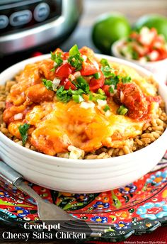 Family-style dining doesn't come more flavorful or simpler than this Crockpot Cheesy Salsa Chicken. In it, bite-size chunks of seasoned boneless chicken breasts are cooked with diced sweet onion and chunky salsa until fall apart tender. Thicken the sauce a bit with tomato paste to enhance the texture then serve over Spanish rice or my...Read More »