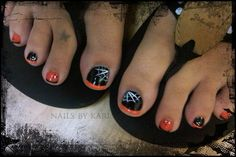 black and orange toes with decorations