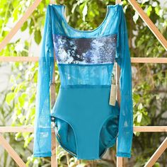 """Luckyleo Dancewear Spice style! This customized leotard is teal and teal mesh with the """"Mystic"""" print that pairs with SO MANY COLORS! Customize your own by following the link..."""