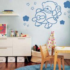 Vinilos decorativos infantiles de osito aviador con nubes Muppet Babies, Pattern, Estilo Disney, Home Decor, Fal, Mario, Ballet, Ideas, Interior Walls