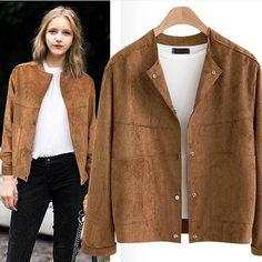 Women's Winter Warm Thicken Autumn Jackets Long Sleeve Suede Short Coats Parka