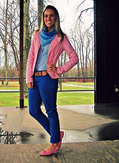 cobalt blue pants - chambray shirt