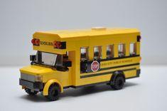 LEGO School Bus City Town Yellow Americans Short Custom Speed Champions  #Lego Lego City Truck, Bus City, Lego City Police, Jurassic Park Jeep, Lego Jurassic, Custom Lego, Custom Vans, Lego Ambulance, Car Cop