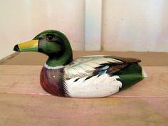 Vintage Carved Wood Duck Decoy Mallard Wood Carving Hand Painted