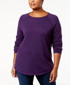 Karen Scott Plus Size Curved-Hem Cotton Sweater, Created for Macy's - Purple 2X