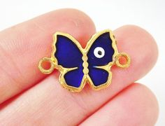2 Enameled Butterfly Connector with Evil Eye  22k by LylaSupplies, $3.60