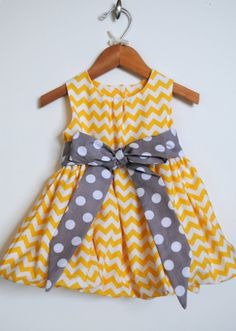 Chevron Bubble Dress, Polka Dots, Yellow, Grey, Modern Girls Clothing, Birthday, Special Occasions, Photos, Holidays, Size 3 Mo-6