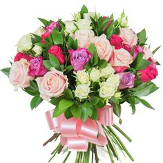 his glamorous combination of bright red roses, dark purple roses, light pink roses, white spray roses and ruscus will make a very thoughtful gift that will make a great impression! Online Flower Delivery, Flower Delivery Service, Same Day Flower Delivery, Dark Purple Roses, Light Pink Rose, Pink Roses, Red Purple, Pink White, Rose Arrangements