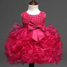 BABY GIRL PINK PEARL TIERED TULLE DRESS