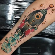 Rocket tattoo by briebrutal on Instagram. #rocketship #space