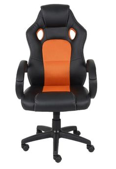 #officechair #office #chair #fauxleather #fauxleatherchair #Blackandorange