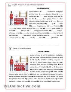 Unseen London: three activities on using prepositions in English sentences. Teaching English Grammar, English Grammar Worksheets, English Vocabulary, English Sentences, English Day, English Reading, Learn English, English Homework, English Primary School