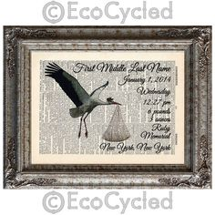New to EcoCycled on Etsy: Stork Delivery Custom Birth Announcement on Vintage Upcycled Dictionary Art Print Book Art Print Customized Personalized (20.00 USD)