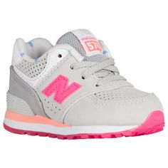 New Balance 574 - Girls' Toddler - Grey / Pink Toddler Sneakers Girl, Baby Sneakers, Toddler Shoes, Kid Shoes, Girls Shoes, Kids Outfits Girls, Toddler Outfits, Sophie Shoes, Baby Girl Shoes